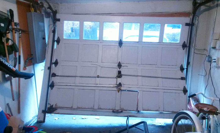 Broken garage door Baltimore County